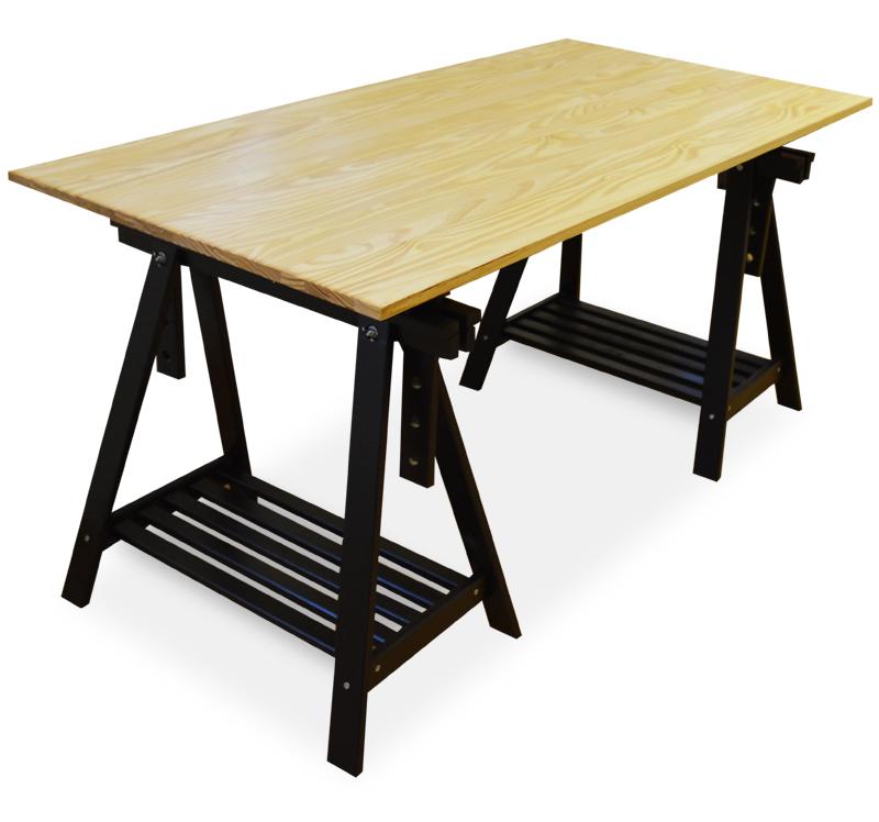 Mesa caballete regulable 80 x 160 x 77 cm - Mesa con caballetes ...